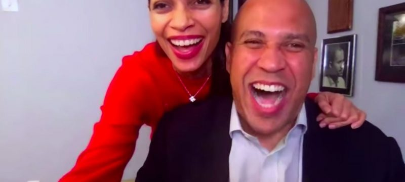 Rosario Dawson Crashes Boyfriend Cory Booker's Interview, Talks Voting 'For My Man and Marijuana'
